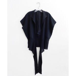 Peter Cohen Black Silk Short Kimono Wrap Top XXL